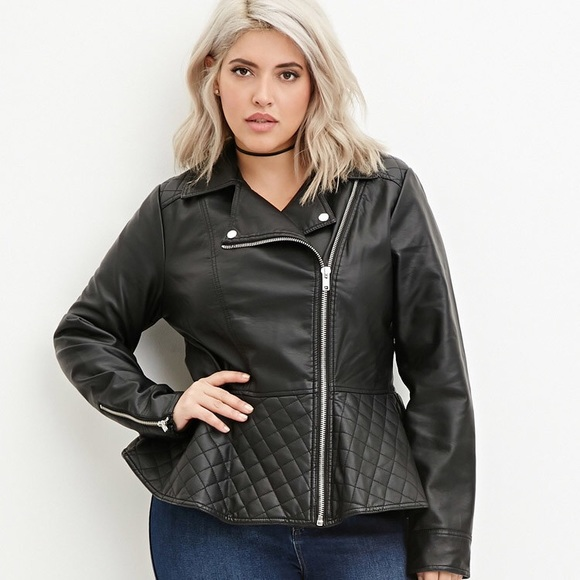 105e6bb87 Forever 21 Plus Size Leather Peplum Biker Jacket